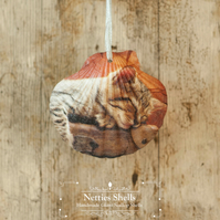 Hanging Cat Kitten Decoration on a Giant Scallop Shell by Netties Shells
