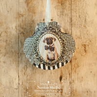 Hanging Pug Decoration on a Giant Scallop Shell by Netties Shells