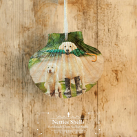 Hanging Labrador Decoration on a Giant Scallop Shell by Netties Shells