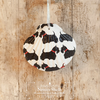 Hanging Scottie Dog Decoration on a Giant Scallop Shell by Netties Shells