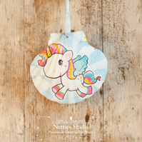 Hanging Unicorn Decoration on a Giant Scallop Shell by Netties Shells