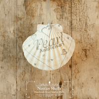 Hanging Wedding Decoration on a Giant Scallop Shell by Netties Shells