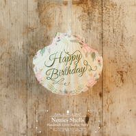 Hanging Happy Birthday Decoration on a Giant Scallop Shell by Netties Shells