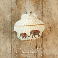 Hanging Elephant Decoration on a Giant Scallop Shell by Netties Shells