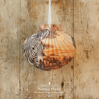 Hanging Safari Decoration on a Giant Scallop Shell by Netties Shells