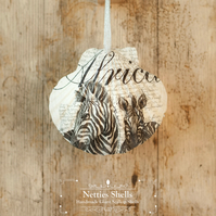 Hanging Zebra Decoration on a Giant Scallop Shell by Netties Shells