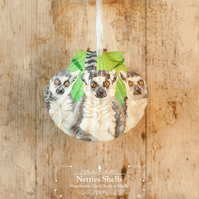 Hanging Lemur Decoration on a Giant Scallop Shell by Netties Shells