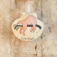 Hanging Sloth Decoration on a Giant Scallop Shell by Netties Shells
