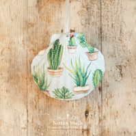 Hanging Cactus Decoration on a Giant Scallop Shell by Netties Shells