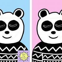 Panda with Jumper print, nursery, babies, decor, bedroom art, kids, print