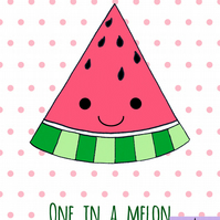 One in a Melon watermelon print, nursery, babies, bedroom art, personalised