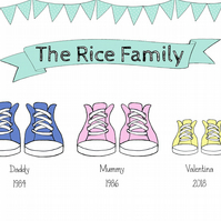 Family of Trainers shoe print, personalised, modern, wall art