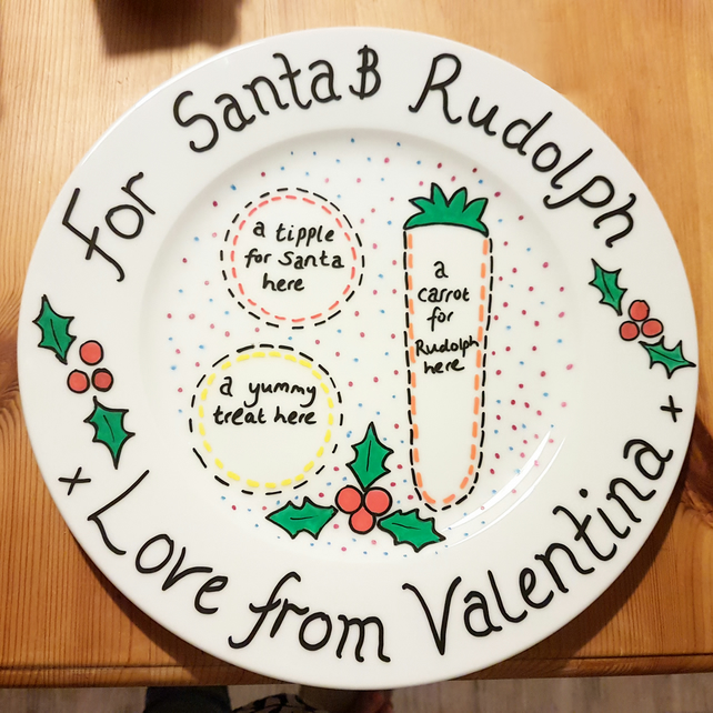 Christmas Eve personalised plate for Santa, hand painted, customised
