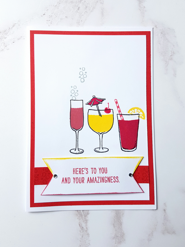 Mixed Drinks congratulations cards, ONE SUPPLIED, hand stamped, handmade