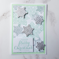 Christmas themed cards, ONE SUPPLIED, hand stamped, handmade