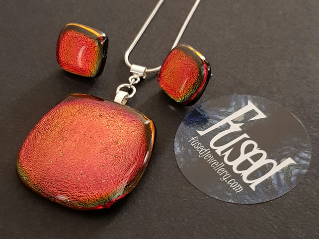 Handmade Fused Glass & Sterling Silver Necklace & Earrings Set