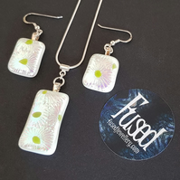 Handmade Fused Glass, & Sterling Silver Necklace & Earrings Set