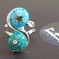 Handmade Fused Glass & Silver Plated Ring