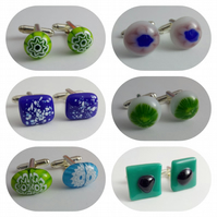 Handmade Fused Glass Silver Plated Cufflinks - Various colours