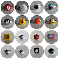Handmade Fused Glass Silver Plated Rings - Various colours