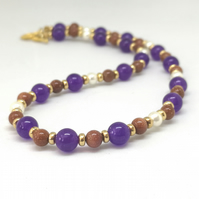 Amethyst, Orange Goldstone and Shell Pearl Necklace     SP2
