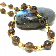 Smokey Quartz and Peridot Necklace