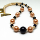Blue Goldstone and Champagne Shell Pearl Necklace SP1