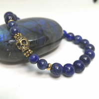 Men's Lapis Lzuli Bracelet with Skull   UMB1
