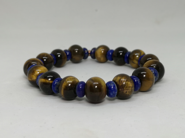 Men's Lapis and Tiger's Eye Bracelet    UMB2