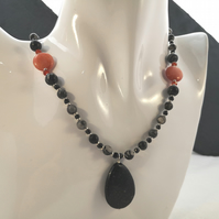 Black Jasper & Magnesite Pendant Necklace