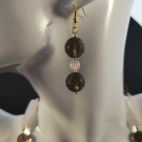Rose Quartz & Smokey Quartz Earrings   RSQ1