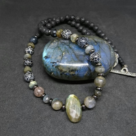 Labradorite & Agate Necklace     LA1