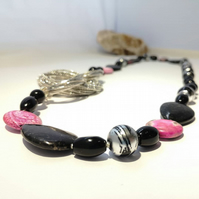 Pink & Black Multi Gemstone Necklace