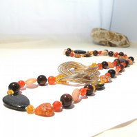 Long Orange & Gold Multi Gemstone Necklace