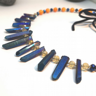 Blue Quartz Spears & Shell Choker style Necklace