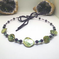 Green Mother Of Pearl Choker