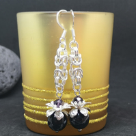 Black & Silver Terra Jasper Chain maille Drop Earrings