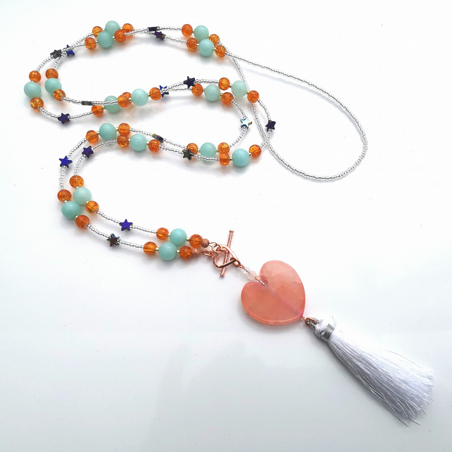 Agate Heart Tassel Necklace