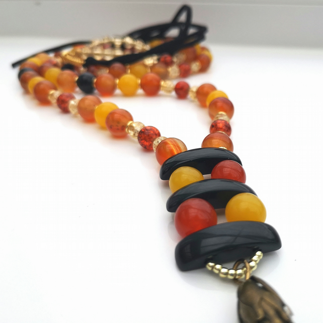 Carnelian & Black Onyx Necklace