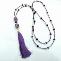 Dogtooth Amethyst Tassel Necklace