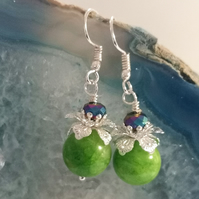 Green Quartz and Crystal Earrings