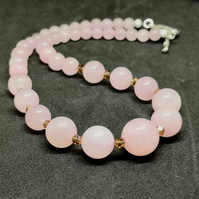 Rose Quartz and Swarovski Crystal Necklace