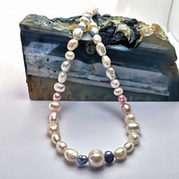 White, Pink & Blue Freshwater Pearl Necklace