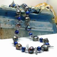 Blue and Peacock Freshwater Pearl Necklace