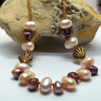 Peach and Purple Freshwater Pearl Necklace