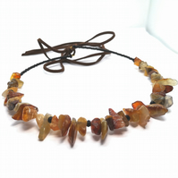 Brown Agate and Black Crystal Choker