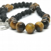 Tiger's Eye & Lava Rock Necklace