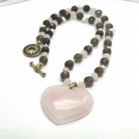 Rose and Smokey Quartz Necklace