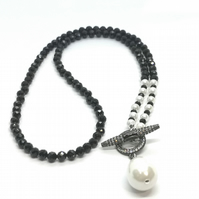 Black Spinel and Shell Pearl Necklace