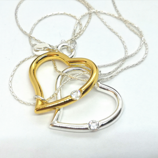 Double Heart Sterling Silver Necklace 2